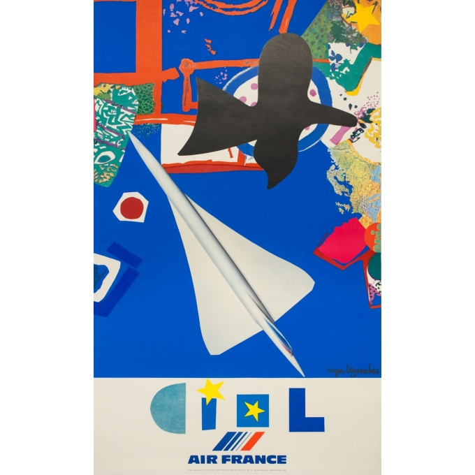 Vintage travel poster - Roger Bezombes - 1981 - Ciel Air France - 39.4 by 24 inches