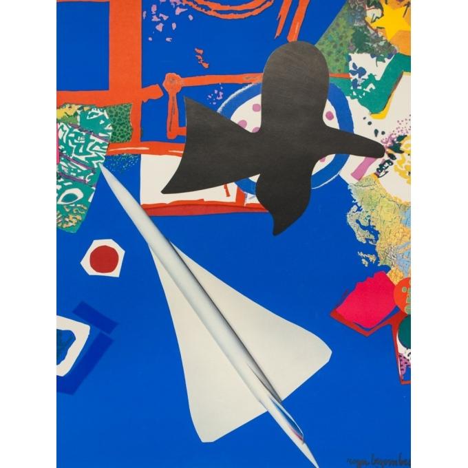 Affiche ancienne de voyage - Roger Bezombes - 1981 - Ciel Air France - 100 par 61 cm - 2
