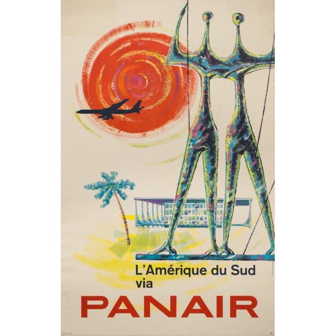 Affiche ancienne de voyage - Drescher - 1960 - Amérique Du Sud Panair - 99.5 par 63.5 cm