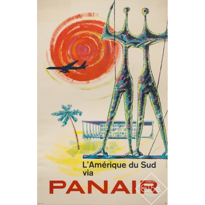 Vintage travel poster - Drescher - 1960 - Amérique Du Sud Panair - 39.2 by 25 inches