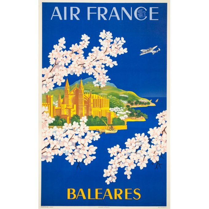 Vintage travel poster - Lucien Boucher - 1951 - Air France Baleares - 39 by 24.8 inches