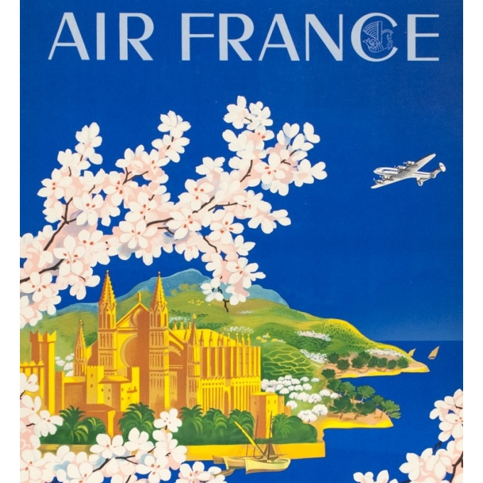 Vintage travel poster - Lucien Boucher - 1951 - Air France Baleares - 39 by 24.8 inches - 2
