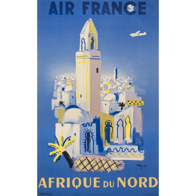 Affiche ancienne de voyage de Villemot 1946 - Air France Afrique Du Nord