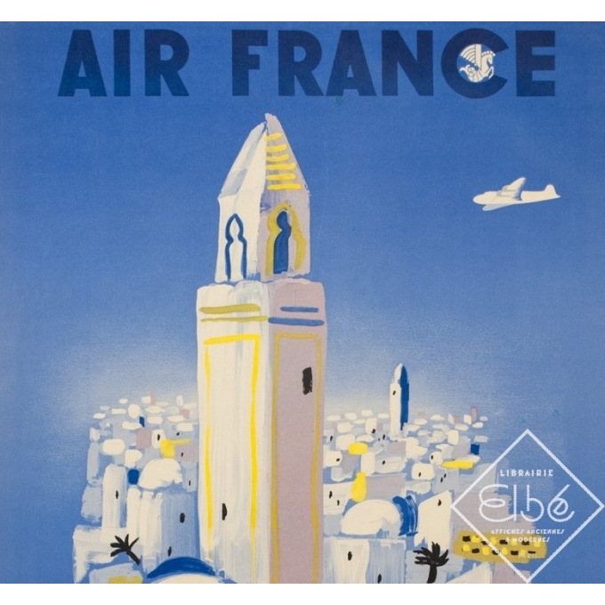 Affiche ancienne de voyage de Villemot 1946 - Air France Afrique Du Nord - 2