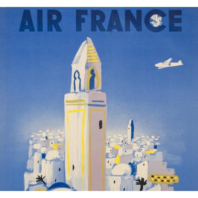 Vintage travel poster - Villemot - 1946 - Air France Afrique Du Nord - 39.4 by 24.4 inches - 2