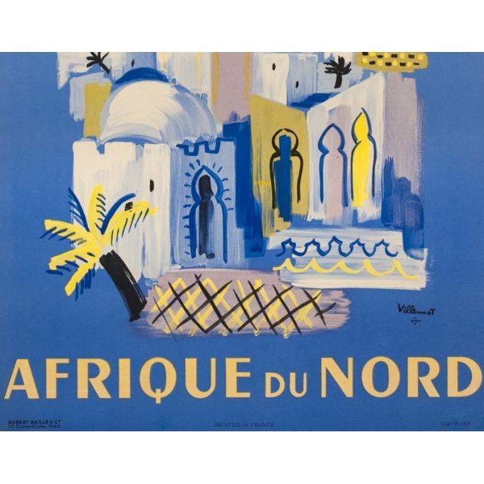 Affiche ancienne de voyage de Villemot 1946 - Air France Afrique Du Nord - 3