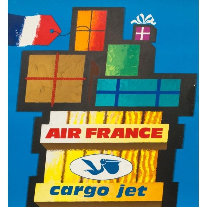 Affiche ancienne de voyage - Nathan - 1962 - Air France Cargo Jet - 99 par 62 cm - 2