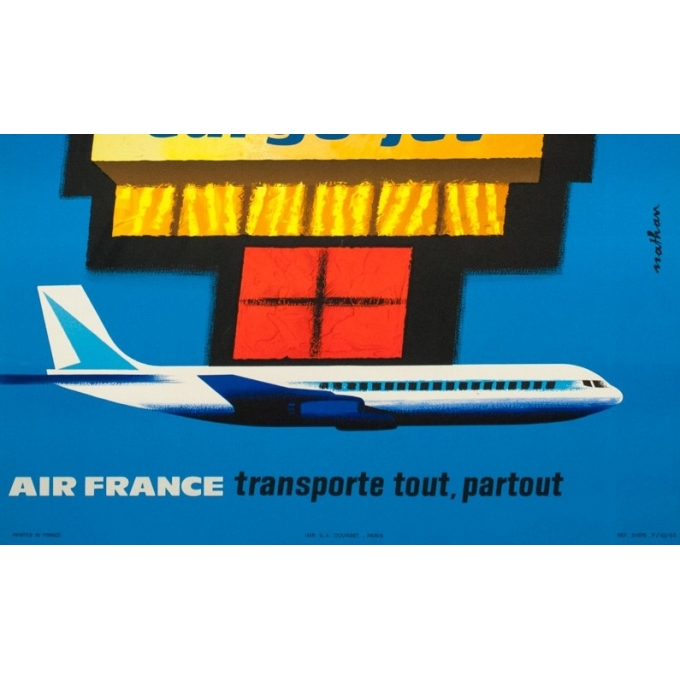 Vintage travel poster - Nathan - 1962 - Air France Cargo Jet - 39 by 24.4 inches - 3