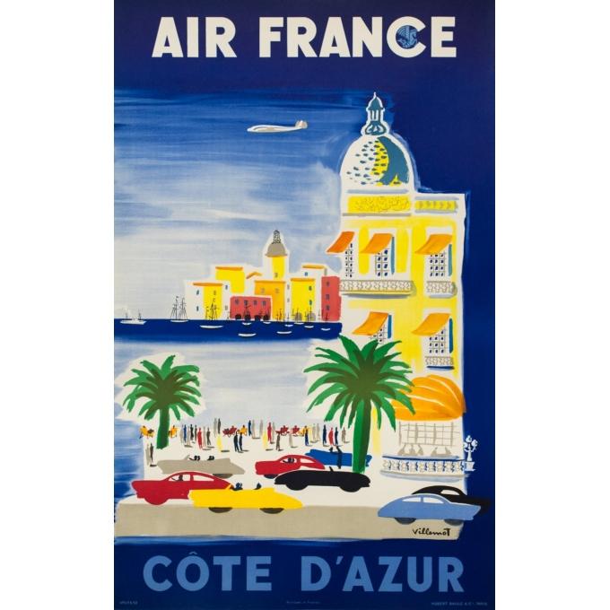 Affiche ancienne de voyage - Villemot - 1952 - Air France Côte d' Azur - 103 par 62 cm