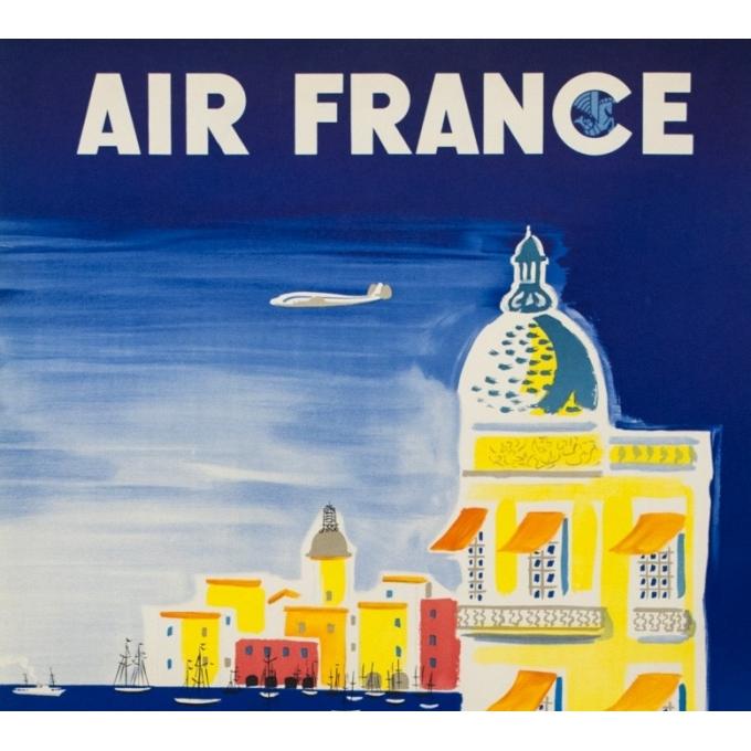 Affiche ancienne de voyage - Villemot - 1952 - Air France Côte d' Azur - 103 par 62 cm - 2
