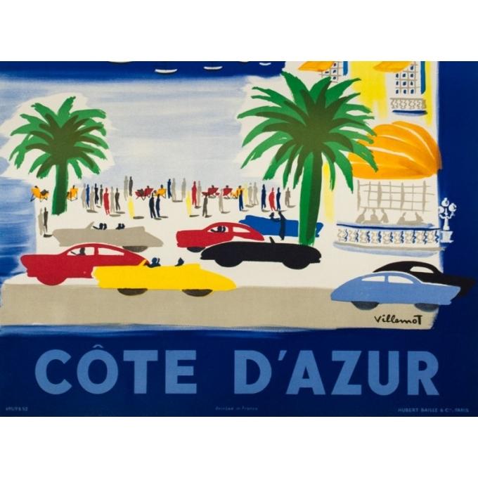 Affiche ancienne de voyage - Villemot - 1952 - Air France Côte d' Azur - 103 par 62 cm - 3
