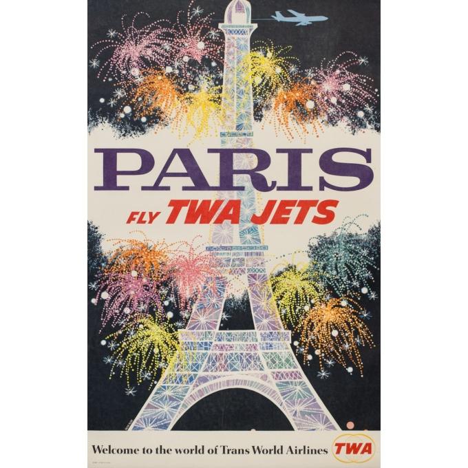 Vintage travel poster - David Klein - Circa 1960 - TWA Jets Paris - 41.7 by 24.8 inches