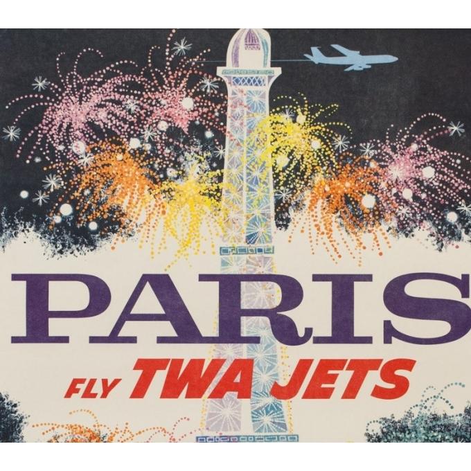Affiche ancienne de voyage - David Klein - Circa 1960 - TWA Jets Paris - 106 par 63 cm - 2