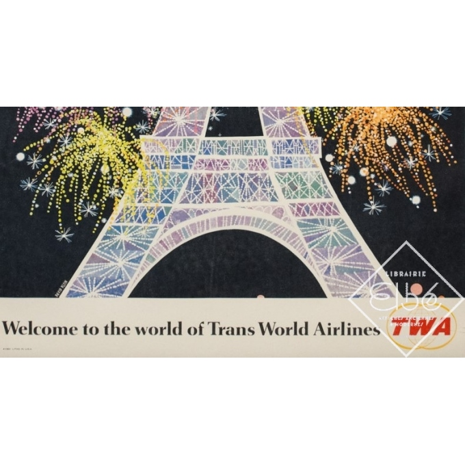 Vintage travel poster - David Klein - Circa 1960 - TWA Jets Paris - 41.7 by 24.8 inches - 3
