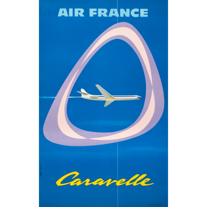 Vintage travel poster - Jean Colin - 1959 - Air France Caravelle - 39.2 by 24.4 inches