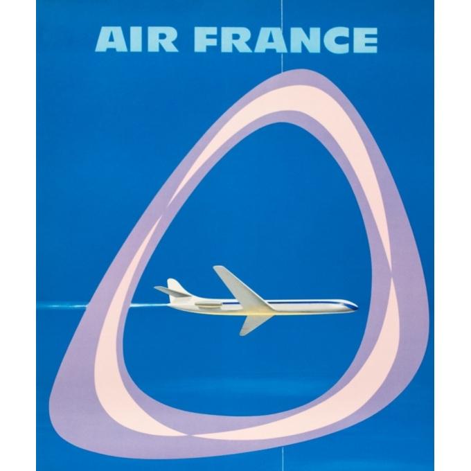 Affiche ancienne de voyage - Jean Colin - 1959 - Air France Caravelle - 99.5 par 62 cm - 2