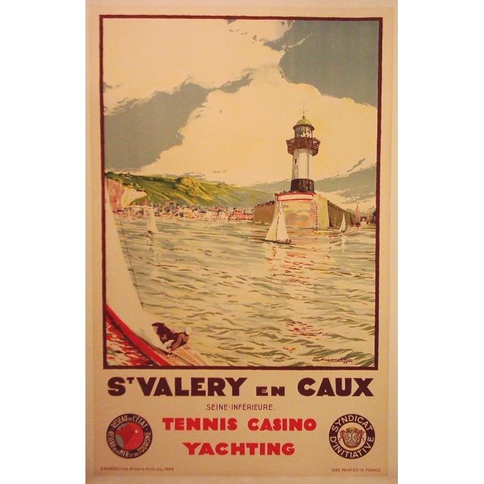Affiche ancienne originale Saint Valery en Caux. Elbé Paris.