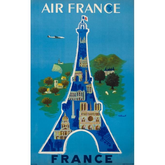 Affiche ancienne de voyage - Villemot - 1952 - Air France Tour Eiffel - 99 par 62.5 cm
