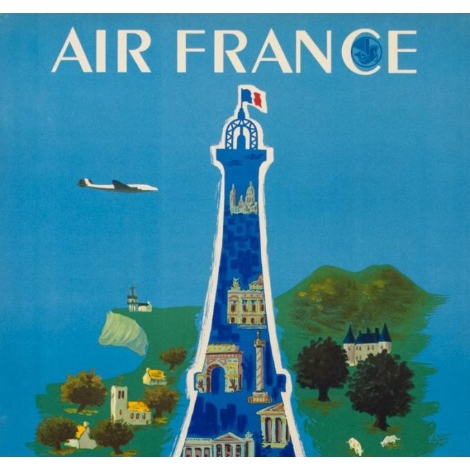 Affiche ancienne de voyage - Villemot - 1952 - Air France Tour Eiffel - 99 par 62.5 cm - 2