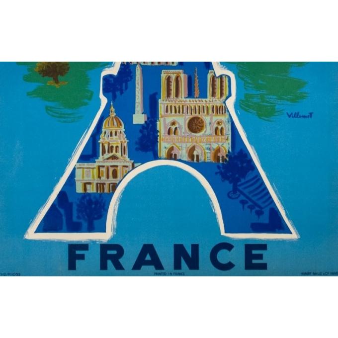 Affiche ancienne de voyage - Villemot - 1952 - Air France Tour Eiffel - 99 par 62.5 cm - 3
