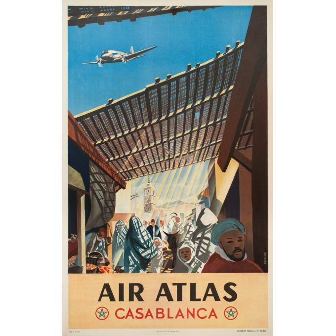 Affiche ancienne de voyage - Renluc - Circa 1950 - Air Atlas Casa Blanca - 101.5 par 64 cm