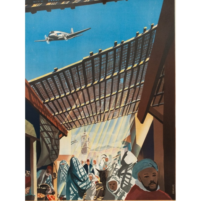 Vintage travel poster - Renluc - Circa 1950 - Air Atlas Casa Blanca - 40 by 25.2 inches - 2