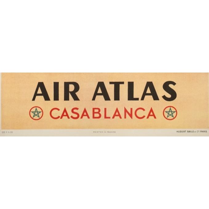 Affiche ancienne de voyage - Renluc - Circa 1950 - Air Atlas Casa Blanca - 101.5 par 64 cm - 3