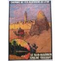 Original vintage poster of the algerian State railways Temacine Touggourt. Elbé Paris.