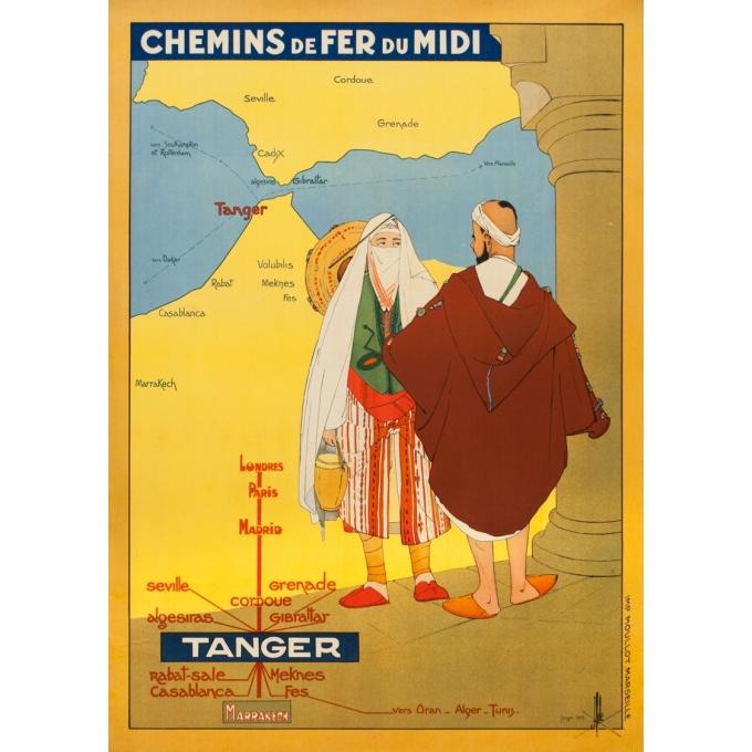 Affiche ancienne de voyage - J. Hole - 1929 - Tanger Maroc Chemins de Fer du Midi - 104 par 74 cm