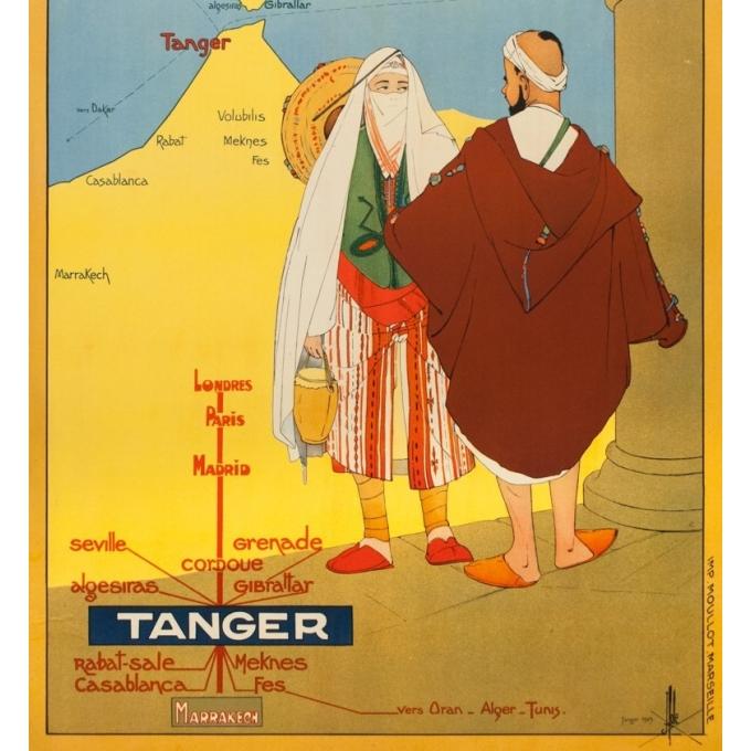 Affiche ancienne de voyage - J. Hole - 1929 - Tanger Maroc Chemins de Fer du Midi - 104 par 74 cm - 3