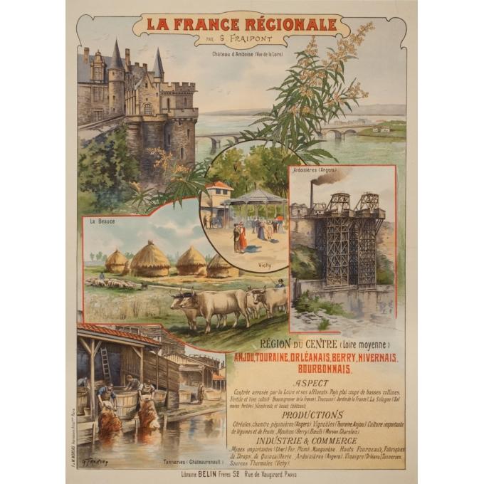 Vintage travel poster - Gustave Fraipont - Circa 1900 - France Régionale Auvergne Centre Loire - 30.3 by 22 inches
