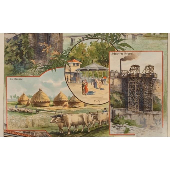 Vintage travel poster - Gustave Fraipont - Circa 1900 - France Régionale Auvergne Centre Loire - 30.3 by 22 inches - 3