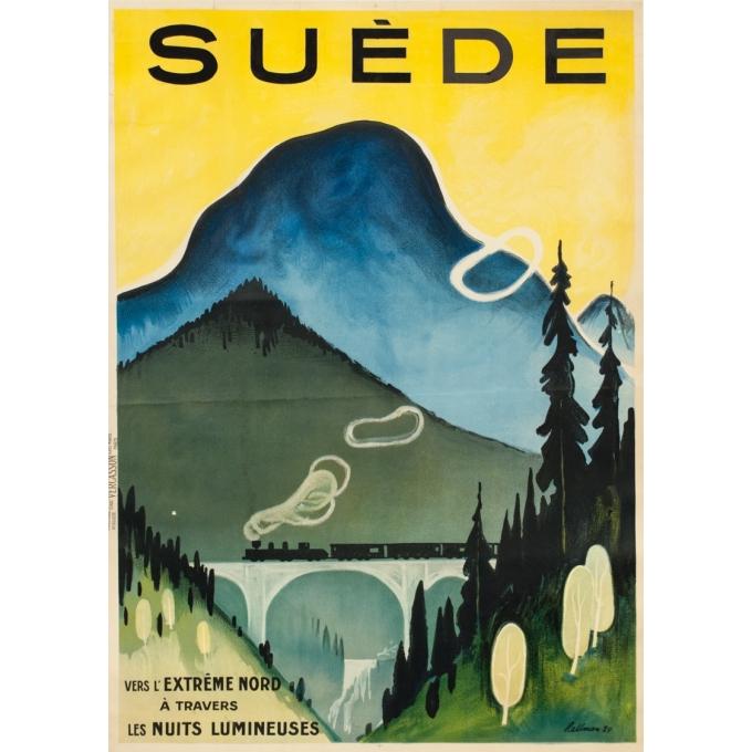Affiche ancienne de voyage - Hallman - 1924 - Suède Sweden - 104 par 74.5 cm