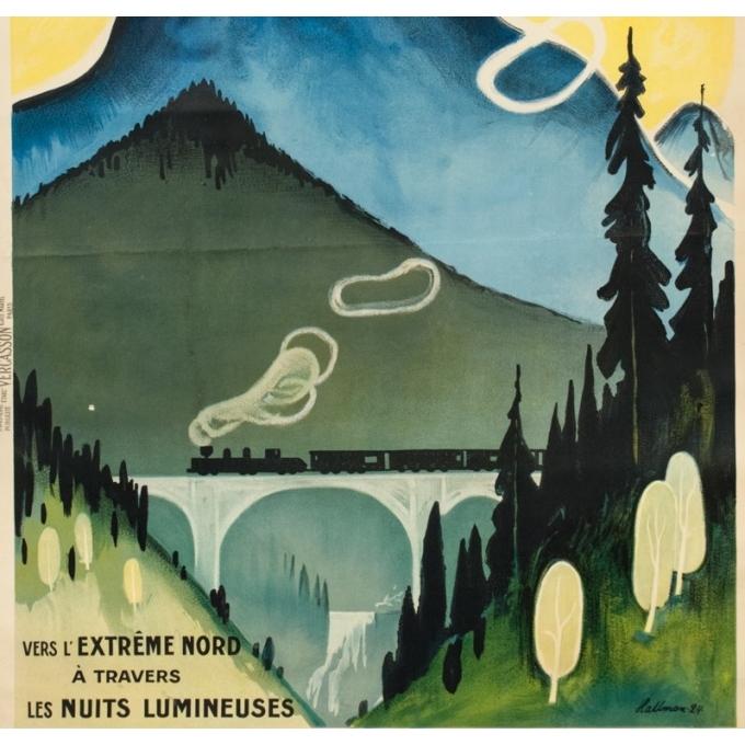 Affiche ancienne de voyage - Hallman - 1924 - Suède Sweden - 104 par 74.5 cm - 3