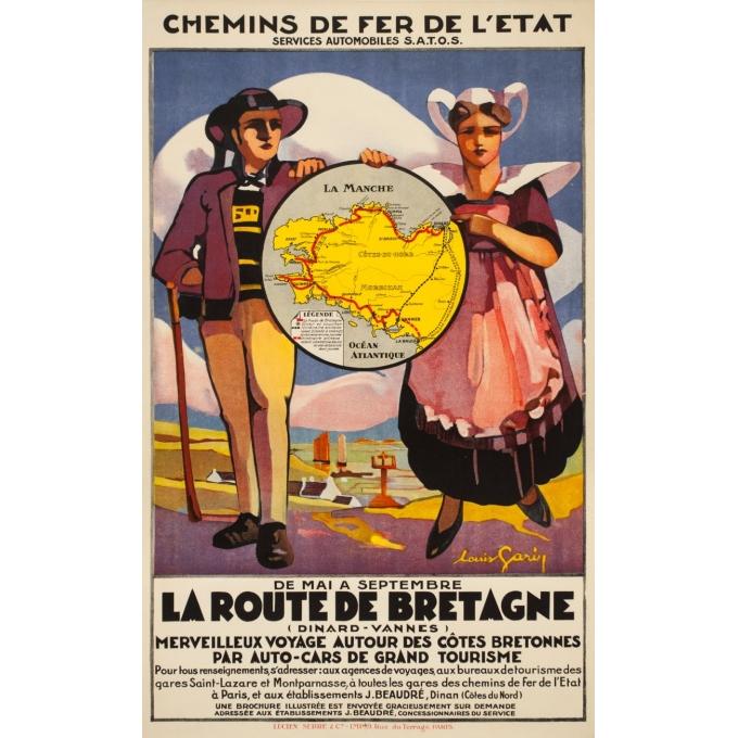 Affiche ancienne de voyage - Louis Garin - Circa 1920 - La Route De Bretagne Chemins de Fer de l'Etat - 100 par 66 cm