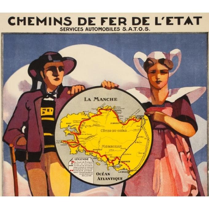 Vintage travel poster - Louis Garin - Circa 1920 - La Route De Bretagne Chemins de Fer de l'Etat - 39.4 by 26 inches - 2