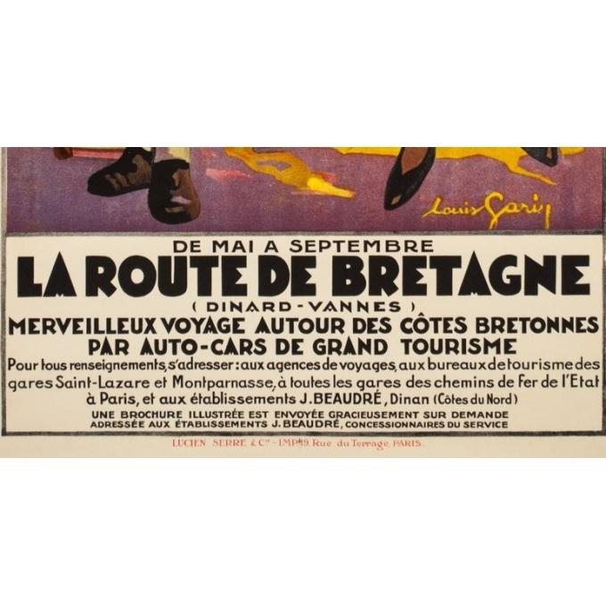 Vintage travel poster - Louis Garin - Circa 1920 - La Route De Bretagne Chemins de Fer de l'Etat - 39.4 by 26 inches - 3