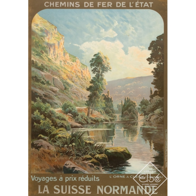 Affiche ancienne de voyage - Hallé - Circa 1920 - Orne Clécy La Suisse Normande - 104.5 par 74 cm