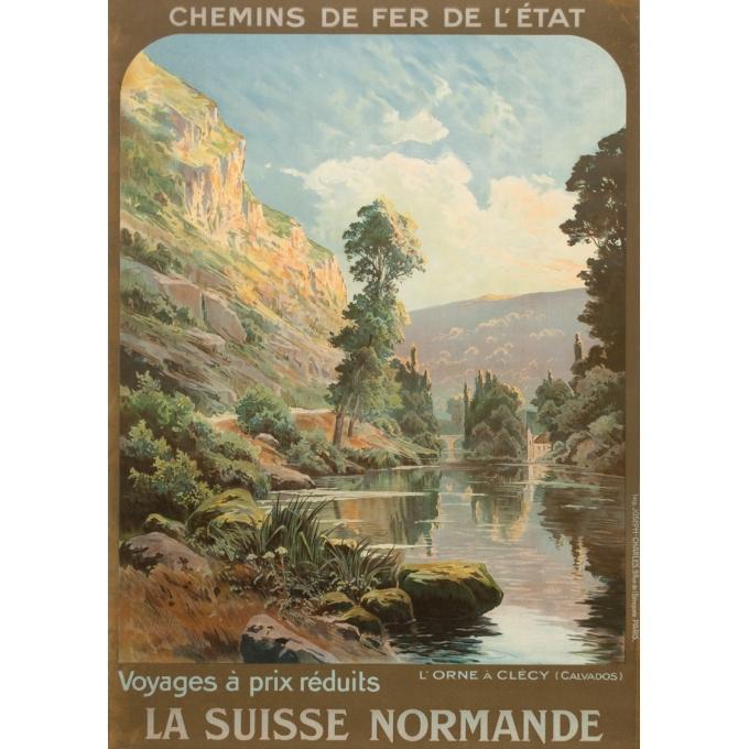 Vintage travel poster - Hallé - Circa 1920 - Orne Clécy La Suisse Normande - 41.1 by 29.1 inches