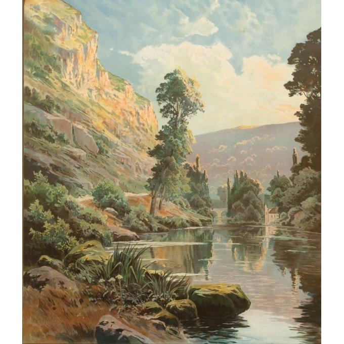Vintage travel poster - Hallé - Circa 1920 - Orne Clécy La Suisse Normande - 41.1 by 29.1 inches - 2