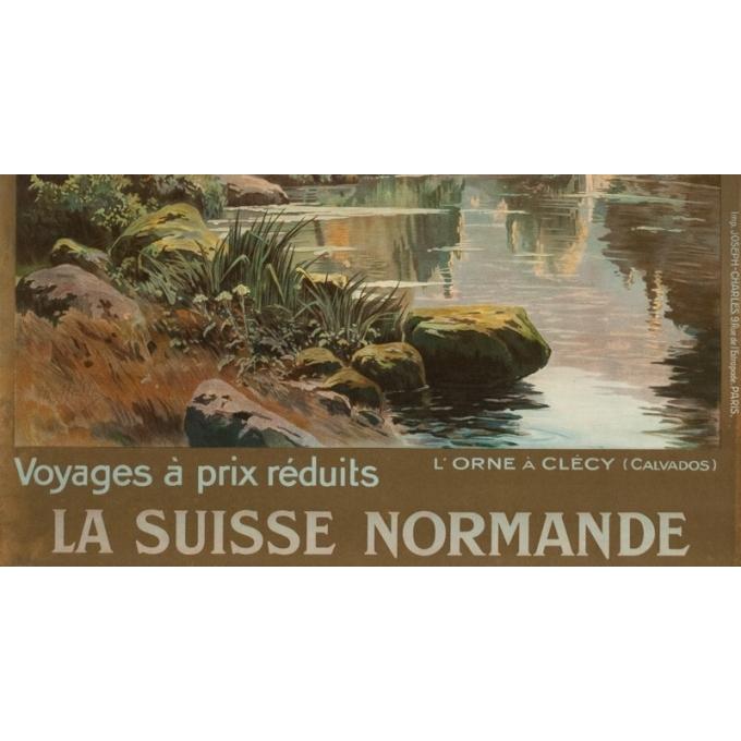 Vintage travel poster - Hallé - Circa 1920 - Orne Clécy La Suisse Normande - 41.1 by 29.1 inches - 3