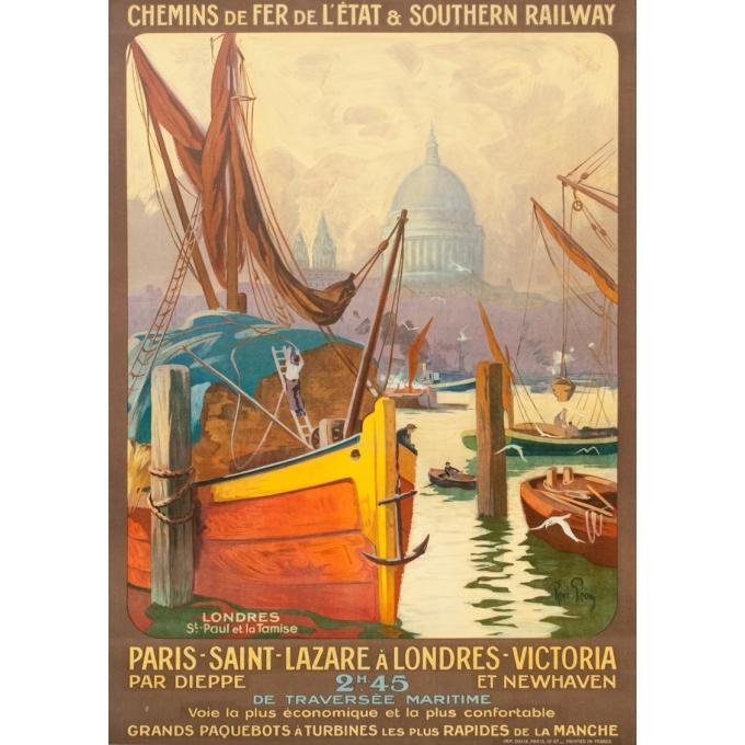 Affiche ancienne de voyage - René Péan - Circa 1910 - Londres Tamise Saint Paul Gb Uk - 104.5 par 74 cm
