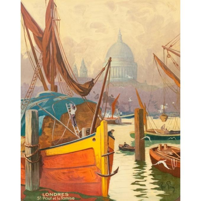 Affiche ancienne de voyage - René Péan - Circa 1910 - Londres Tamise Saint Paul Gb Uk - 104.5 par 74 cm - 2