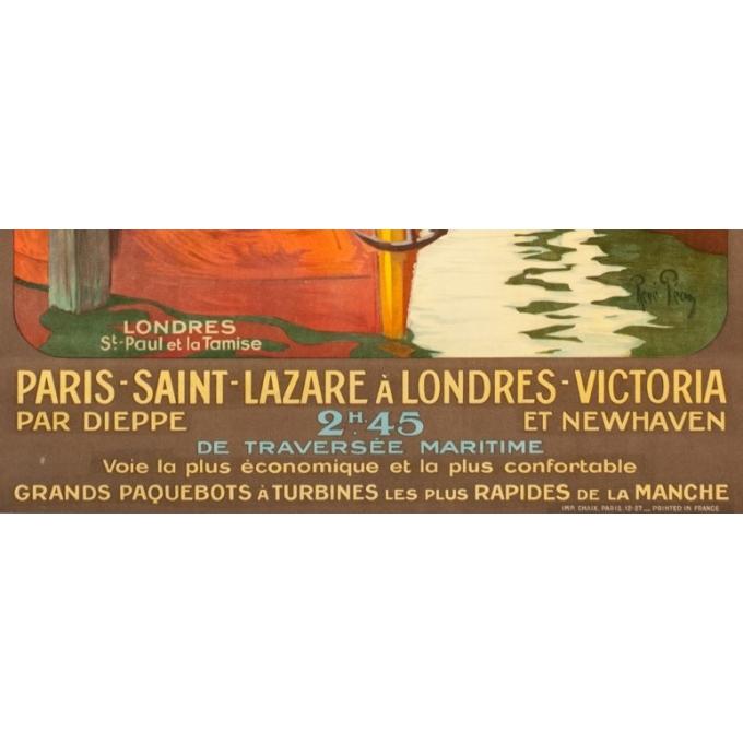 Affiche ancienne de voyage - René Péan - Circa 1910 - Londres Tamise Saint Paul Gb Uk - 104.5 par 74 cm - 3