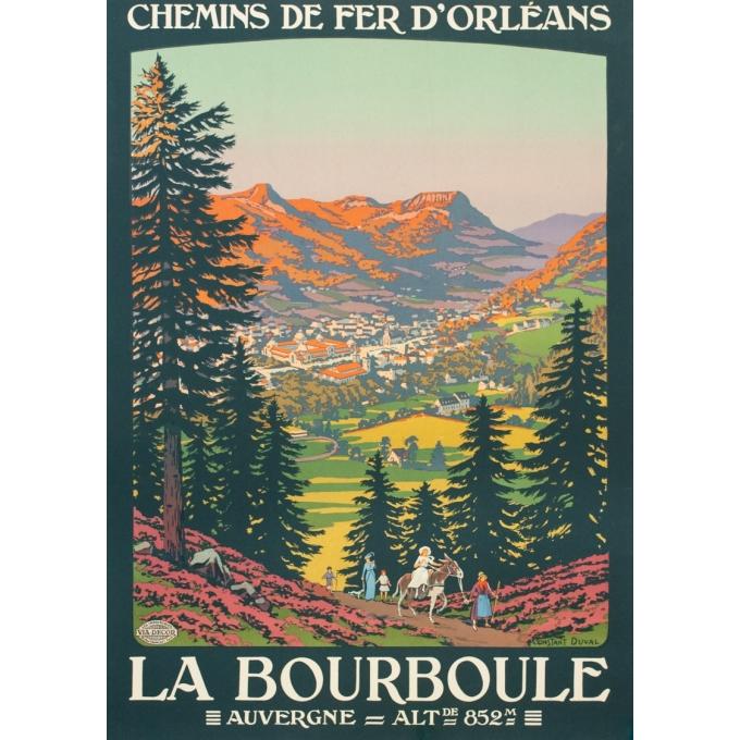 Affiche ancienne de voyage - Constant Duval - Circa 1920 - La Bourboule Auvergne Chemins de Fer d'Orléans - 104.5 par 75 cm