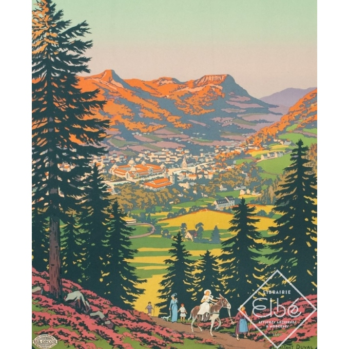 Vintage travel poster - Constant Duval - Circa 1920 - La Bourboule Auvergne Chemins de Fer d'Orléans - 41.1 by 29.5 inches - 2