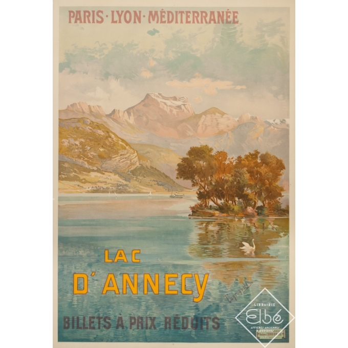 Affiche ancienne de voyage - Tanconville - Circa 1900 - Le Lac D'Annecy PLM - 106 par 74 cm