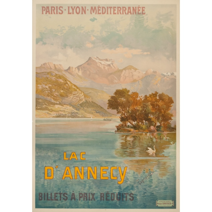 Vintage travel poster - Tanconville - Circa 1900 - Le Lac D'Annecy PLM - 41.7 by 29.1 inches
