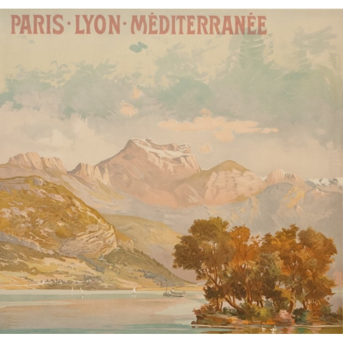 Vintage travel poster - Tanconville - Circa 1900 - Le Lac D'Annecy PLM - 41.7 by 29.1 inches - 2