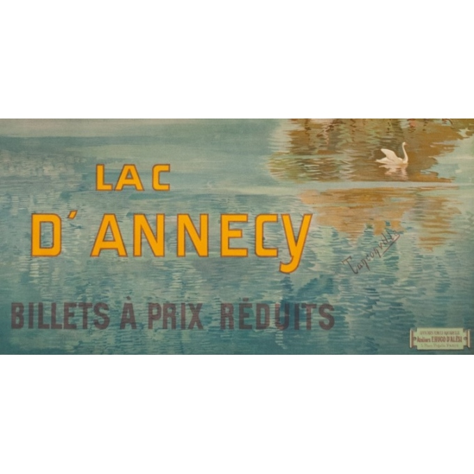 Vintage travel poster - Tanconville - Circa 1900 - Le Lac D'Annecy PLM - 41.7 by 29.1 inches - 3
